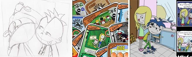 Skizze Video, Brettspielkarten, Punk Comic