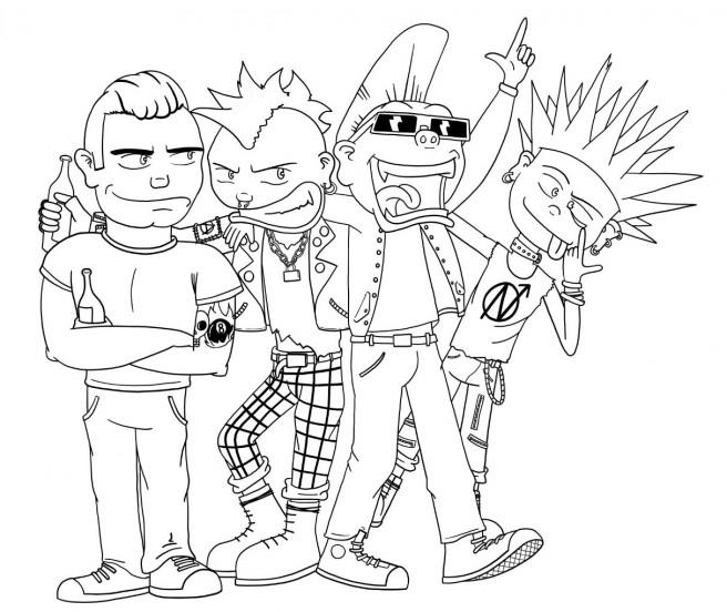 Eine Gruppe Punks und Rockabillies als Comic